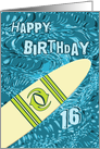 Surfer 16th Birthday with Surfboard in Ocean Graphic card