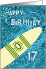 Surfer 17th Birthday with Surfboard in Ocean Graphic card