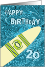Surfer 20th Birthday with Surfboard in Ocean Graphic card