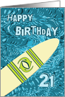 Surfer 21st Birthday with Surfboard in Ocean Graphic card