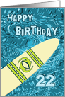 Surfer 22nd Birthday with Surfboard in Ocean Graphic card