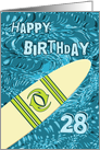 Surfer 28th Birthday with Surfboard in Ocean Graphic card