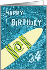 Surfer 34th Birthday with Surfboard in Ocean Graphic card