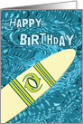 Surfer Birthday with Surfboard in Ocean Graphic card