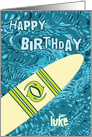 Surfer Birthday with Surfboard in Ocean Graphic Name Specific - Luke card