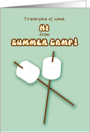Summer Camp Notes from Camper Hi Fill in Blanks Marshmallows on Sticks card