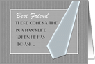Best Friend Best man Custom Text Invitation Grey Pinstripe Blue Tie card