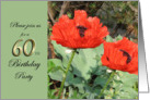 60th Birthday Party Invitation featuring Red Poppies in Garden card