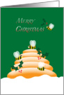 Merry Christmas Honey Bees, Holly and Hive Beekeeping card