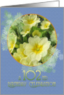102nd Birthday Party Invitation Primroses Blue and Yellow card