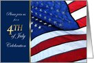 4th July Invitation for BBQ/party featuring American flag card