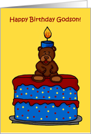 birthday boy bear on cake to godson card