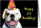 Happy 1/2 Birthday White Boxer Dog card
