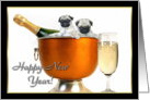 Happy New Year Pug puppies card