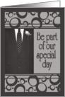 Groomsman Invitation, Men's Suit in Black & Gray card