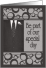 Best Man Invitation, Men's Suit in Black & Gray card