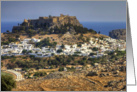 Between a Rock and a Hard Place, Lindos, Rhodes - Blank Note Card