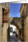 Alleyway in Rhodes Town, Greece - Blank Note Card