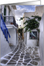 Residential Streets of Mykonos, Greece - Blank Note Card