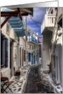Mykonos Street, Mykonos, Greece - Blank Note Card