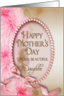 Mother's Day - Daughter - Pink Delicate Flowers - Oval Inset card