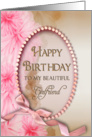 Birthday - Girlfriend - Pink Delicate Flowers - Oval Inset card