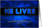 Easter - He Lives - Blue/Gold - Christian card
