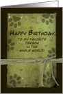 Birthday - From Pet - Green - Paw Imprints card