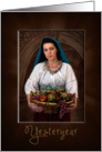 OLD WORLD/YESTERDAY COLLECTION - WOMAN CARRYING BASKET FRUIT card