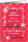 Christmas/Our Home to Yours - Pink/red plaid/Snow/Name card