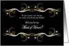 REQUEST - MAID OF HONOR - Black/Gold Friends card