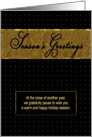 Season's Greetings - Commercial/Company Holiday Card - Black/Gold card