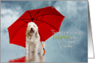 MISS YOU - Fun card - Brighter Days With You - Dog/Umbrella card