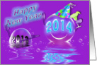 2014 - New Year -Bubbles and Reflections - Purple card