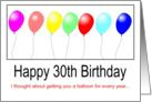 30th Birthday Balloons card