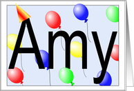 Amy's Birthday Invitation, Party Balloons card