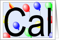 Cal's Birthday Invitation, Party Balloons card