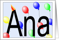 Ana's Birthday Invitation, Party Balloons card