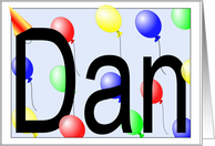 Dan's Birthday Invitation, Party Balloons card