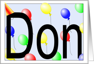 Don's Birthday Invitation, Party Balloons card