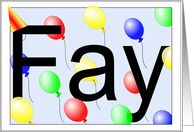 Fay's Birthday Invitation, Party Balloons card