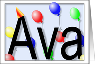 Ava's Birthday Invitation, Party Balloons card