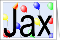 Jax's Birthday Invitation, Party Balloons card
