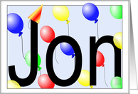 Jon's Birthday Invitation, Party Balloons card
