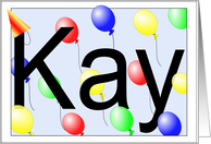 Kay's Birthday Invitation, Party Balloons card