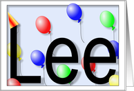 Lee's Birthday Invitation, Party Balloons card