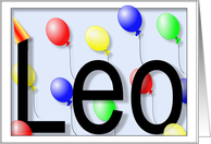 Leo's Birthday Invitation, Party Balloons card