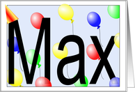 Max's Birthday Invitation, Party Balloons card
