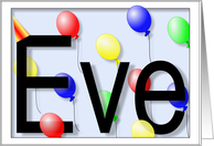 Eve's Birthday Invitation, Party Balloons card