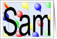 Sam's Birthday Invitation, Party Balloons card